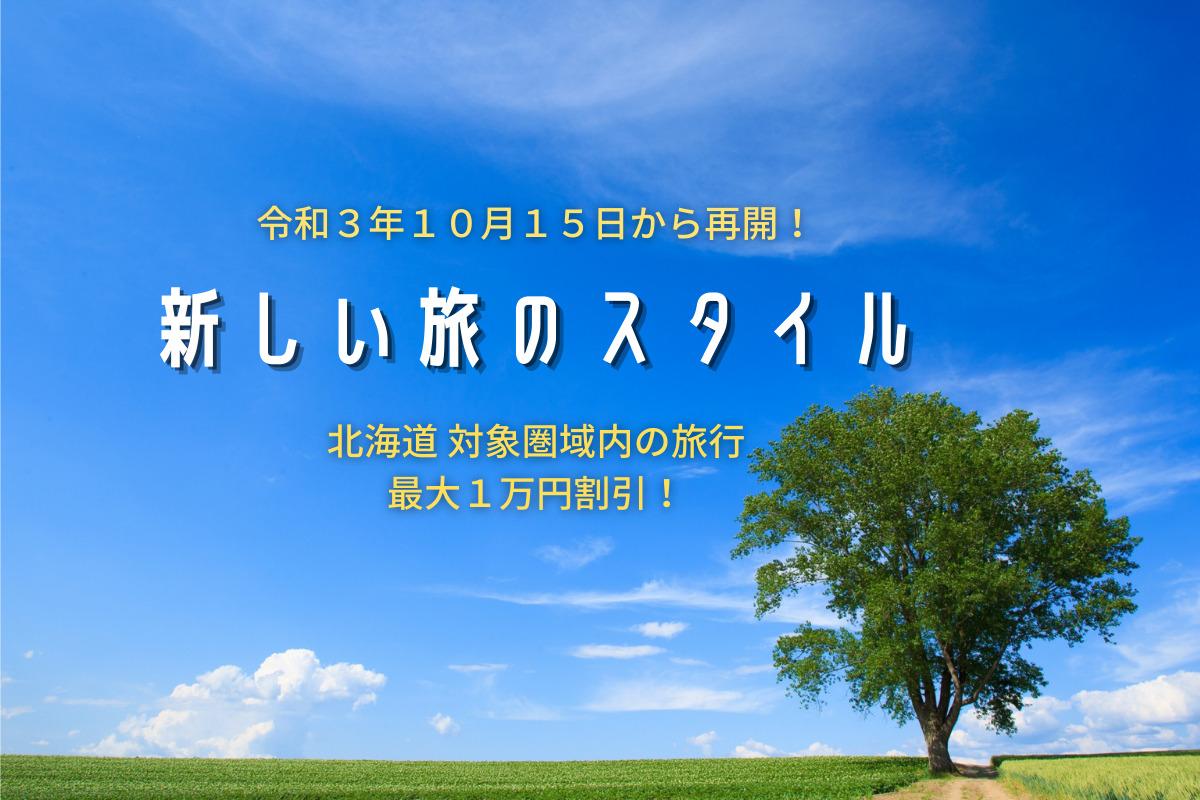 【キャンペーン】新どうみん割「新しい旅のスタイル」~北海道内対象圏域内の旅行で最大1万円が割引に♪